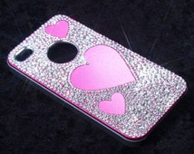 Swarovski iPhone 4 cover - pink, covered in Swarovski crystals in varying sizes, with heart shaped cut outs - unique design - bling, sparkly