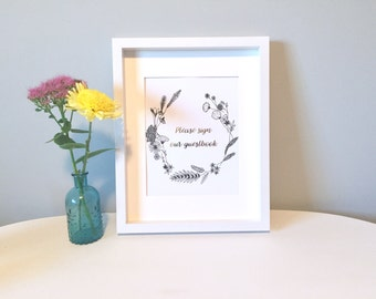 Please Sign our Guestbook Gold Foil Print with Hand drawn floral crown - Wedding Signs - Wall Art - Modern Prints