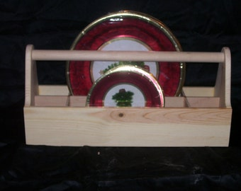Wooden Plate and Dinnerware Tote