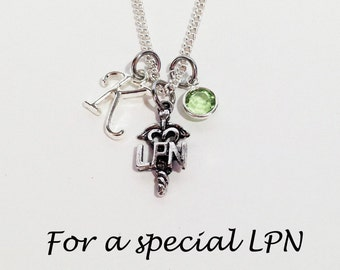 LPN Jewelry, Nurse Gift, LPN Gifts, LPN Necklace, Personalized Nurse Gift, Nurse Necklace, Initial Necklace, Birthstone Necklace, Medical
