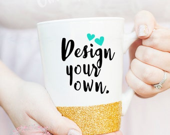 Custom 14oz White- Glitter Mug- Custom Coffee Mug- Personalized Coffee Mug- Design Your Own Mug- Ceramic Mug