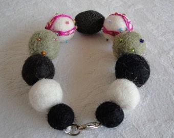 black/white mix bangle, textile jewellery, wool felt bracelet, one-of-a-kind bangle, felt bead cuff, textile bracelet, black multi bracelet