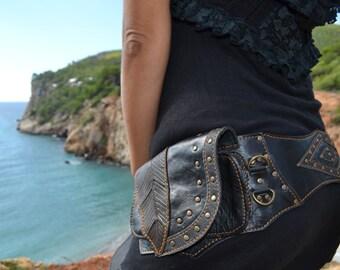 leather waist bag/festival belt/travel bag/burning man bag/utility leather belt/biker bag/steampunk bag/urban tribal lifestyle/goa psytrance