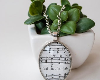 Hallelujah Extra Large Pendant Necklace, Funny End of the Year Gifts for Teachers, Hymn Pendant Necklace, Music Teacher Gift