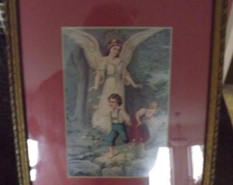 Vintage Wall Hanging Guardian Angel Framed Picture