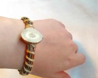 Deer Antler Metal Bangle - Bracelet Handmade - Bone Bangle - Stackable Metal Bracelet - Rustic Jewelry Handmade - Deer Antler Slice
