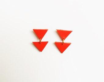 Triangle Earrings from Neon Orange Leather, Geometric Minimalist Earrings.
