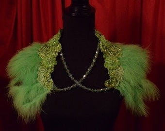 Fluffy Green Ostrich Feather Shawl