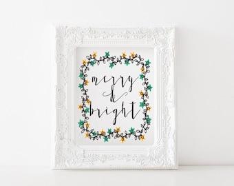 Merry and bright printable - Christmas printable, Christmas print, holiday printable, holiday print, winter printable, winter print
