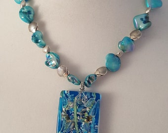 Silver Sea Shells Jewelry Set - Large Glass Pendant - Sea Life Jewelry Set - Blue Glass Jewelry - Wire Wrapped Pendant - Blue Metallic Stone