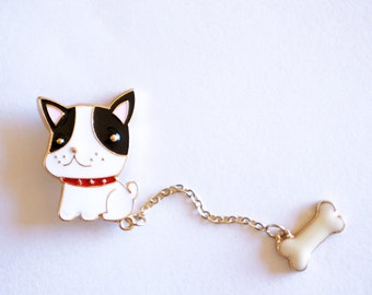 Dog with Bone Enamel Pin | Star Brooch | Lapel Pin