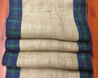 Hessian and Tartan Table Runners, Various Tartans, lengths and widths