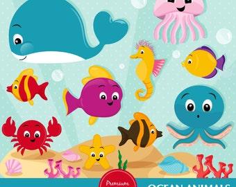 Ocean clipart, Sea animals clipart, Sea creatures, Marine life clipart, Ocean animals, Whale clipart -  CA434