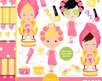 Spa girl clipart, Spa party, Spa clipart, Girl clipart, Spa girl, Spa graphics, Girls spa party for commercial use - CL129