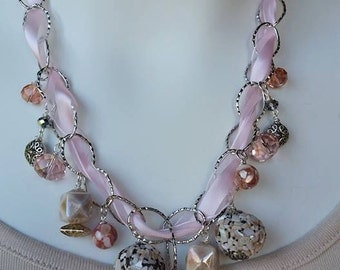 Pink Ribbon and Chain Necklace