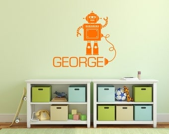 Personalised Robot with Wire Wall Sticker Vinyl Robot Decal Child's Bedroom Playroom Wall Art