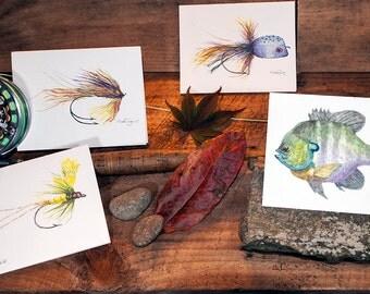 Fly Fishing Cards, Fly Fishing Gifts, Fishing Art, Fishing Decor, Notecards, Fish Artwork, Trout Flies,