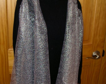 Ladies festive white silver lace scarf/vest ruana - One size fits all!