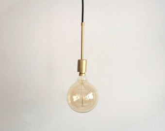 Brass Pendant with brass tube and fabric cable