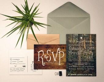 Custom Vintage Postcard Invitation Suite, Printable PDF, whimisical wedding invites, custom designed outdoors woodsy invitation