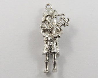 Scottish Man Playing Bagpipes Sterling Silver Charm or Pendant.