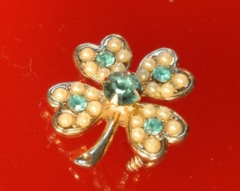 50's Seed Pearl and Aquamarine Good Luck 4-Leaf Clover Pin / Brooch