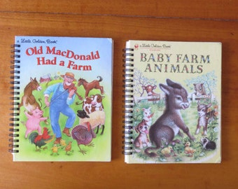 """Repurposed Little Golden Books """"Old MacDonald Had a Farm"""" and """"Baby Farm Animals""""  NOTEBOOKS"""