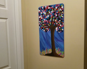 Hand Painted Wooden Button tree Nursery/Kids Room Decor