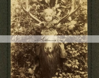 Instant Download Printable Art - Child Deer Head Buck Antlers Antique Photography - Altered Art Paper Crafts Scrapbook - Woodland Portrait