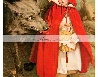 Little Red Riding Hood and Big Bad Wolf - Digital Download Printable Instant Art - Paper Crafts Scrapbook Altered Art - Fairy Tale Book Art