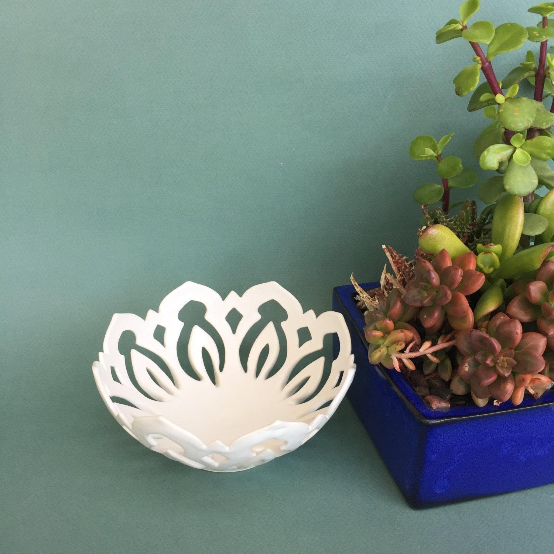 Mandala bowl medium white ceramic centerpiece