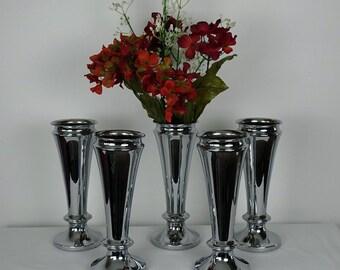 Wedding Flowers Vases - Large Vases- Set of 5 Vintage Silver Plated Bud Vases- Wedding Decor- Display Stand - Elegant Dinner Table