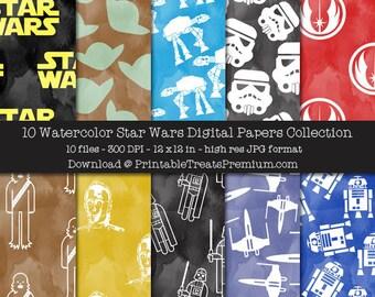 Watercolor Star Wars Digital Paper Pack