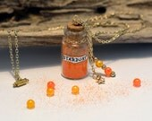 Stardust Bottle Charm Necklace with Orange Stardust Glitter