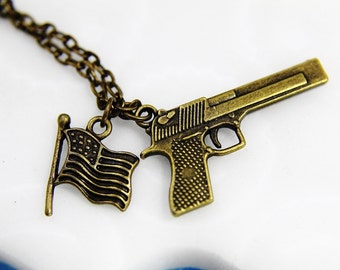 Handgun Necklace, American Flag Necklace, Bronze Handgun and American Flag Pendant Necklace, Patriotic Jewelry ,Second Amendment Jewelry
