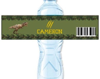 Jurassic Park Water Bottle, Water Bottle Labels, Jurassic World Birthday, Labels, Birthday Supplies, Dinosaur Birthday