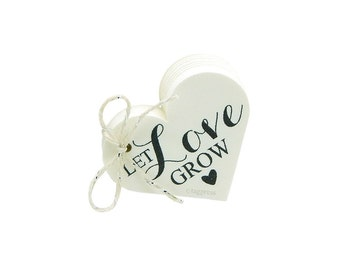 Let Love Grow Tags, Rustic Favor Tags, Love Heart Tags, Wedding Favor Tags, Rustic Paper Tags, Cream, White, Ivory, Brown Kraft Tags, T066
