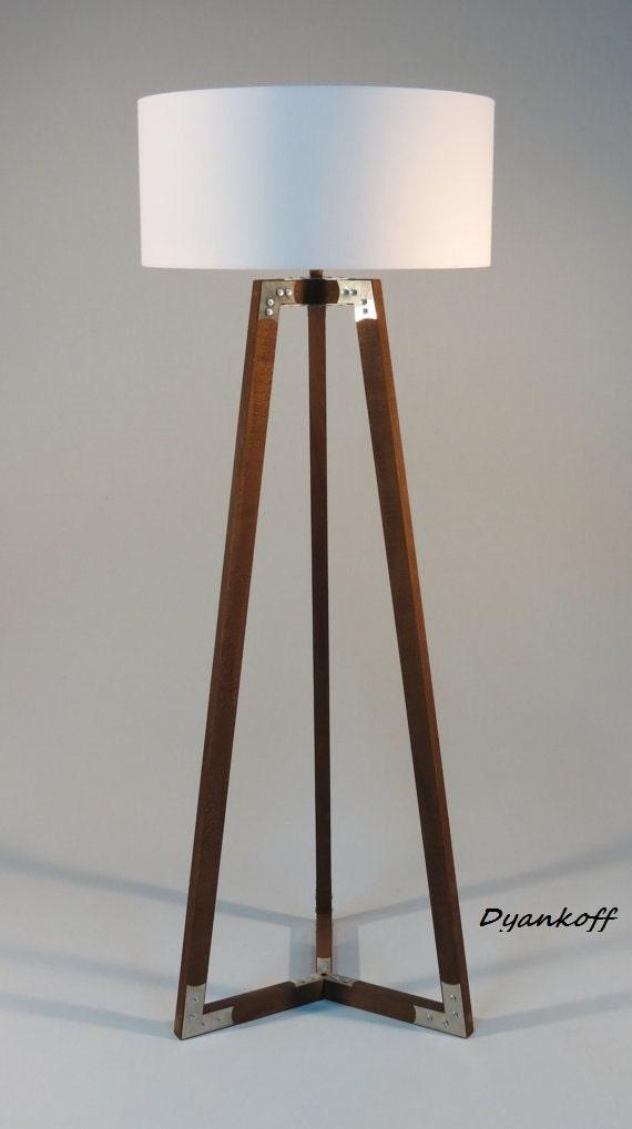 Handmade tripod floor lamp wooden stand in dark wood color for Wooden floor lamp etsy