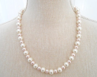 Pale Pink Pearl Necklace - Wedding Necklace - Bridesmaid Necklace - Wedding Jewelry - Pearl Jewelry - Bridesmaid Jewelry - Pale Pink Jewelry