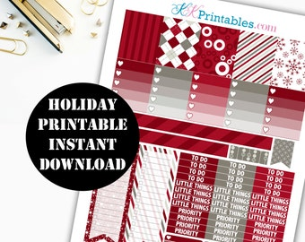 Holiday Printable Planner Stickers // Erin Condren Printable / Plum Paper Planner / Holiday Printable Digital Download 00118