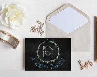 THANK YOU CARD | Printable | Matching Home Sweet Home Chalk Art Theme | Housewarming Thank You | Digital File | Downloadable | A Warm Thanks