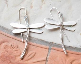Dragonfly earrings, Handmade sterling silver dragonfly earrings, Unique, Artisan jewelry, Sterling silver earrings, Silversmith earrings