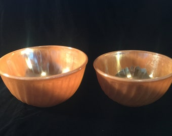 Vintage Fire King Mixing Bowls - Set of 2 - Peach Lustre - USA