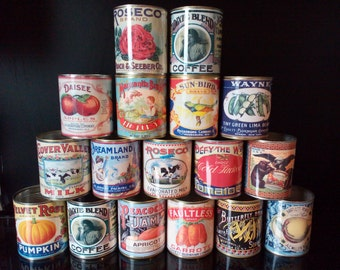Vintage food tin cans  larger size.  Storage for home, cutlery holder, cafes, shop & restaurant display. Props  replica labels
