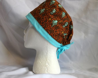 Aqua and Brown Octopus and Seahorse Surgical Scrub Cap Chemo Dentist Hat