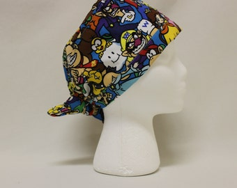 Super Mario Brothers Characters Surgical Scrub Cap Chemo Dental Hat