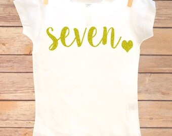 7th Birthday Outfit, Seventh Birthday Shirt, Seven Birthday Shirt, Seven Birthday Girl, Seventh Birthday Girl, 7th Birthday Outfit Girl, 7