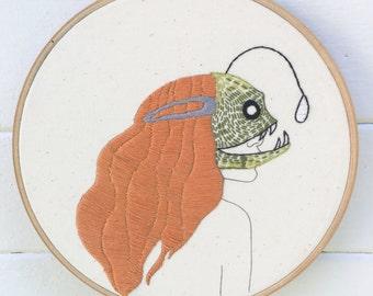 Embroidery Kit, Hand Embroidery Kit, Deep Sea Creature Mask Kit