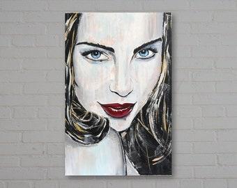 "Original Acrylic Portrait Painting of a Woman, ""Blue Portrait"",  Pop Art, Modern, Contemporary, Wall Art,"