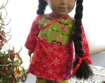 """Holiday Flannel Pajamas to fit your 18"""" American Girl Doll - Cute Reindeer & Snowflakes Print!"""